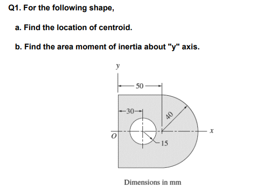 1. For the following shape, a. Find the location of centroid. b. Find the area moment of inertia about y axis ー50一 30-- x. 15 Dimensions in mm