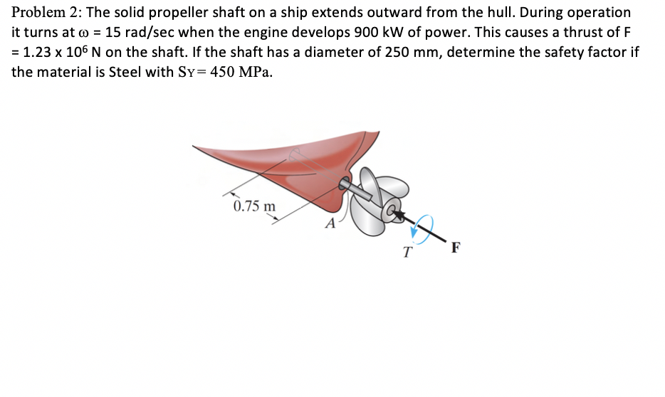 Problem 2: The solid propeller shaft on a ship extends outward from the hull. During operation it turns at ω-15 rad/sec when the engine develops 900 kW of power. This causes a thrust of F = 1.23 x 106 N on the shaft. If the shaft has a diameter of 250 mm, determine the safety factor if the material is Steel with SY= 450 MPa. 0.75 m