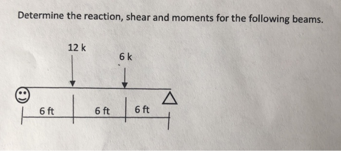 Determine the reaction, shear and moments for the following beams. 12 k 6 k 6 ft 6ft 6ft