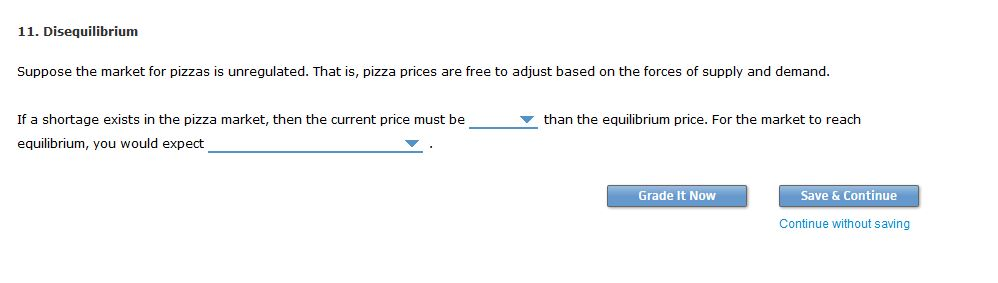 11. Disequilibrium Suppose the market for pizzas is unregulated. That is, pizza prices are free to adjust based on the forces of supply and demand. If a shortage exists in the pizza market, then the current price must be equilibrium, you would expect than the equilibrium price. For the market to reach Grade It Now Save & Continue Continue without saving