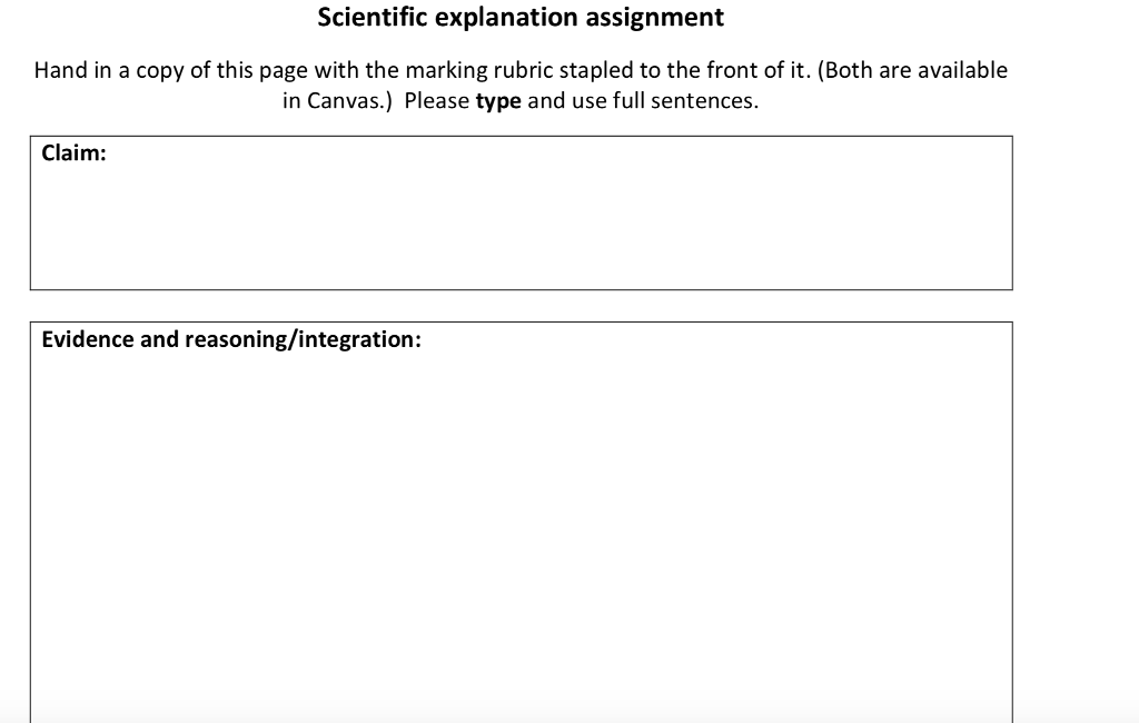 Scientific explanation assignment Hand in a copy of this page with the marking rubric stapled to the front of it. (Both are available in Canvas.) Please type and use full sentences. Claim: Evidence and reasoning/integration: