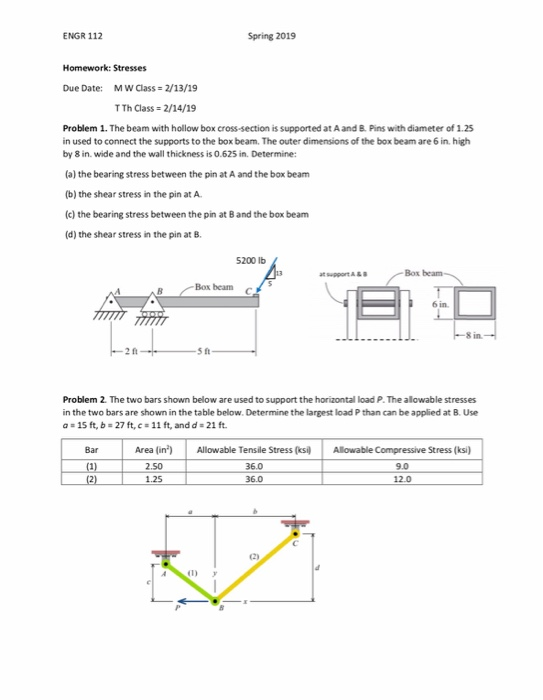 ENGR 112 Spring 2019 Homework: Stresses Due Date: M W Class 2/13/19 TTh Class 2/14/19 Problem 1. The beam with hollow box cro