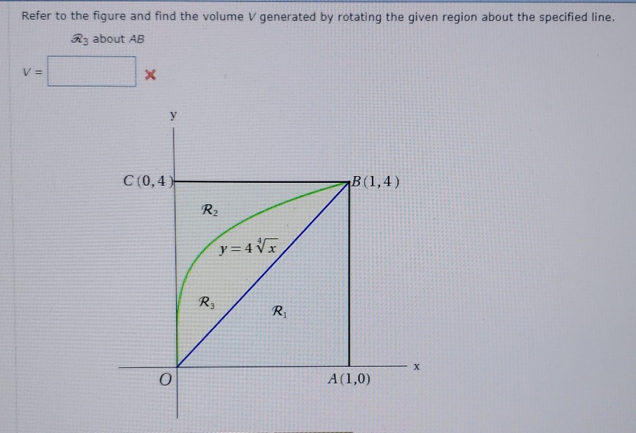 Refer to the figure and find the volume V generated by rotating the given region about the specified line. 3R3 about AB C (0,4 R2 ys4源 R3 Ri
