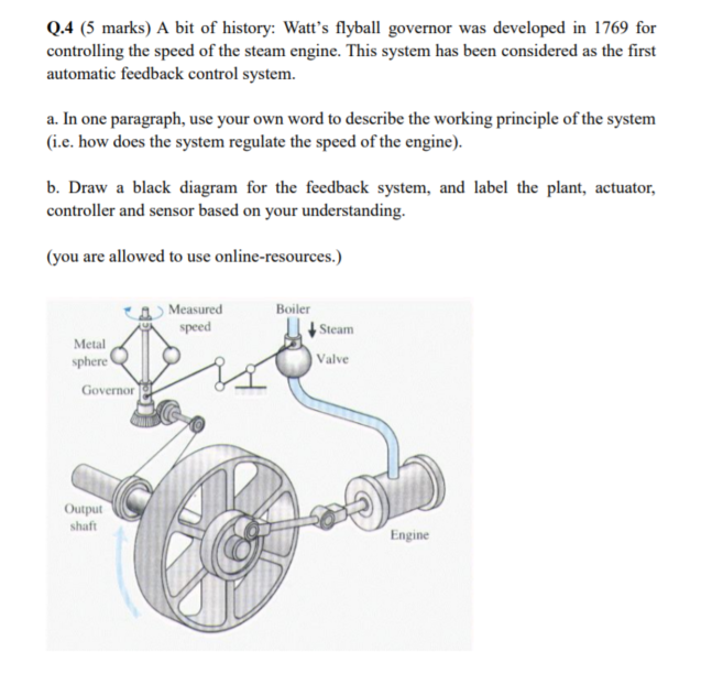 Q.4 (5 marks) A bit of history: Watts flyball governor was developed in 1769 for controlling the speed of the steam engine. This system has been considered as the first automatic feedback control system. a. In one paragraph, use your own word to describe the working principle of the system (i.e. how does the system regulate the speed of the engine). b. Draw a black diagram for the feedback system, and label the plant, actuator, controller and sensor based on your understanding. (you are allowed to use online-resources.) aMeasured speed Boiler Steam Metal sphere Valve Governor Output shaft Engine