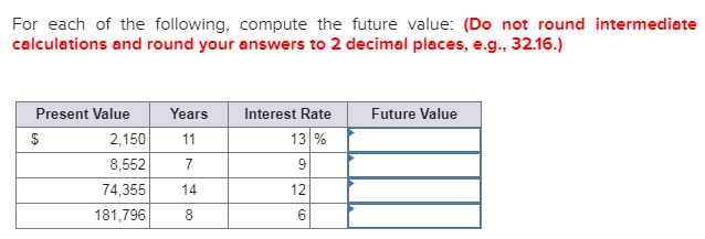 For each of the following, compute the future value: (Do not round i calculations and round your answers to 2 decimal places,