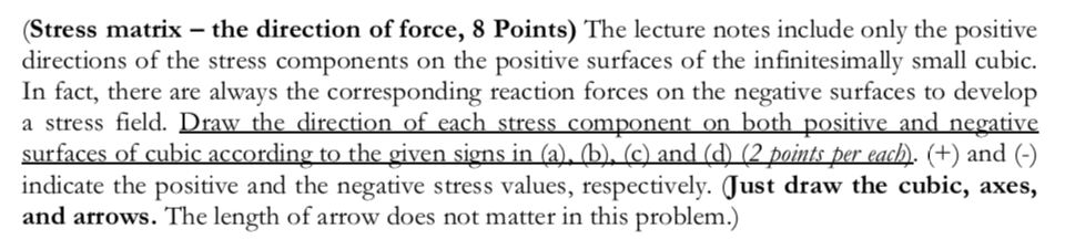Stress matrix the direction of force, 8 Points) The lecture notes include only the positive directions of the stress components on the positive surfaces of the infinitesimally small cubic. In fact, there are always the corresponding reaction forces on the negative surfaces to develop a stress field. Draw the direction of each stress component on both positive and negative sur aces Of cubic according to the given signs in (a)_) (c) and (d) (2 un Derea( ), (+) and (-) indicate the positive and the negative stress values, respectively. Just draw the cubic, axes, and arrows. The length of arrow does not matter in this problem.)