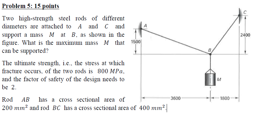 Probleim 5: 15 points Two high-strength steel rods of different diameters are attached to A and C and support a mass M at B, as shown in the figure. What is the maximum mass M that 1500 can be supporicd? 2400 The ultimate strength, i.e., the stress at which fracture occurs, of the two rods is 800 MPa, and the factor of safety of the design needs to be 2 Rod AB has a cross sectional area of 200 mm2 and rod BC has a cross sectional area of 400 mm2 3600 1800