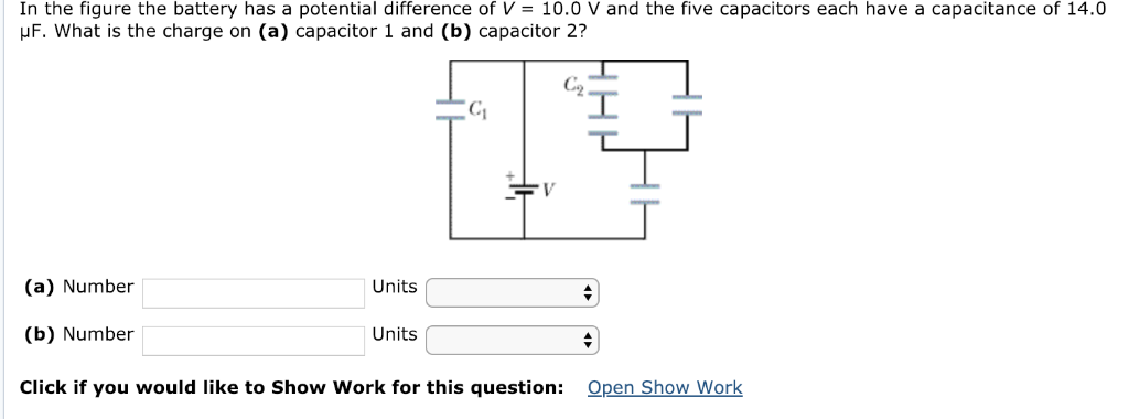 In the figure the battery has a potential difference of V = 10.0 V and the five capacitors each have a capacitance of 14.0 uF