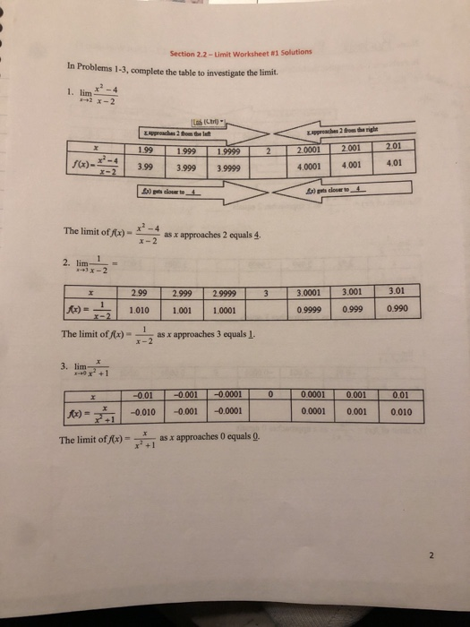 2.2-Limit Worksheet #1 Solutions In Problems 1-3, complete the table to investigate the limit. 1. lim4 Ltrt) 1.99 2.00120 19999 -4399 3999 39999 1.999 4.0001 4.0014.01 The limit offx)4s x approaches 2 equals 4. 2.999 2.9999 3.0001 3.001 3.01 fr) = | 1.010 | 1.001 | 1.0001 09999 0.999 099 The limit of Ax)as x approaches 3 equals 1. r-2 3. lim 000010.001 0.0001 0.001 0.010 fo-Til -0.010 | -0.001 | -00001 The limit of fe pproaches 0 quals 9 as a