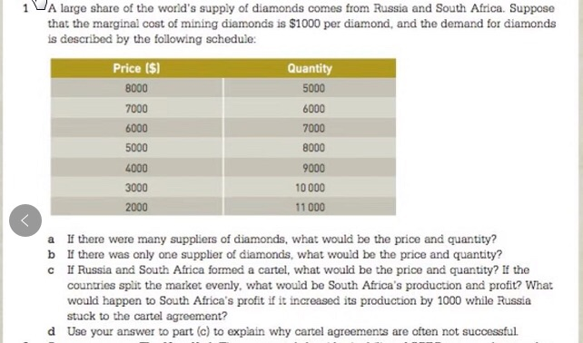 1 A large share of the worlds supply of diamonds comes from Russia and South Africa. Suppose that the marginal cost of mining diamonds is $1000 per diamond, and the demand for diamonds is described by the following schedule: Price ($) 8000 7000 6000 5000 4000 3000 Quantity 5000 6000 7000 8000 9000 10000 11 000 a b c there were many suppliers of diamonds, what would be the price and quantity? there was only one supplier of diamonds, what would be the price and quantity? If Russia and South Africa formed a cartel, what would be the price and quantity, countries spit the market evenly, what would be South Africas production and profit? What would happen to South Africas profit if it increased its production by 1000 while Russia stuck to the cartel agreement? Use your answer to part (c) to explain why cartel agreements are often not successful the d