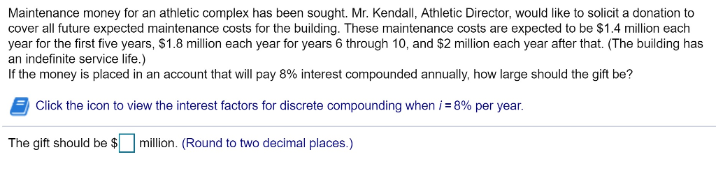Maintenance money for an athletic complex has been sought. Mr. Kendall, Athletic Director, would like to solicit a donation to cover all future expected maintenance costs for the building. These maintenance costs are expected to be $1.4 million each year for the first five years, $1.8 million each year for years 6 through 10, and $2 million each year after that. (The building has an indefinite service life.) If the money is placed in an account that will pay 8% interest compounded annually, how large should the gift be? Click the icon to view the interest factors for discrete compounding when i-8% per year. The gift should be $million. (Round to two decimal places.)