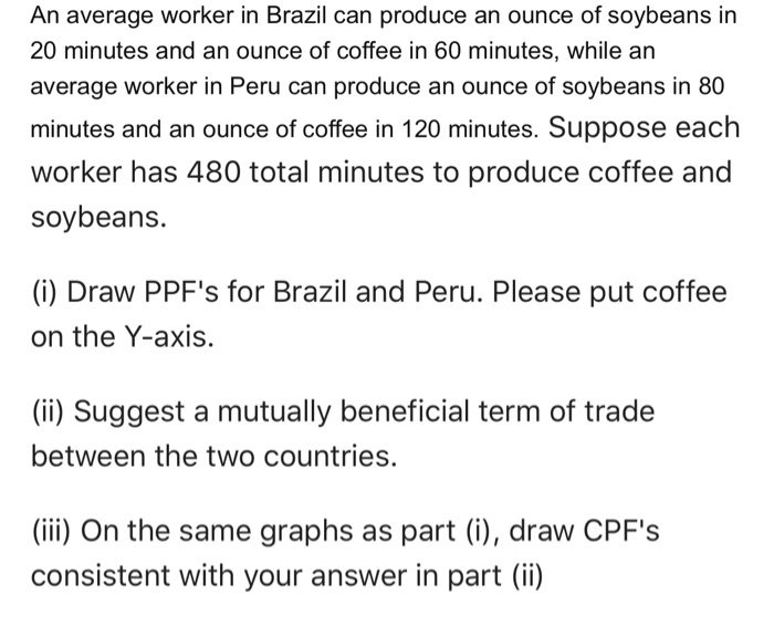 An average worker in Brazil can produce an ounce of soybeans in 20 minutes and an ounce of coffee in 60 minutes, while an average worker in Peru can produce an ounce of soybeans in 80 minutes and an ounce of coffee in 120 minutes. Suppose eaclh worker has 480 total minutes to produce coffee and soybeans. (i) Draw PPFs for Brazil and Peru. Please put coffee on the Y-axis (ii) Suggest a mutually beneficial term of trade between the two countries. (iii) On the same graphs as part (i), draw CPFs consistent with your answer in part (ii)